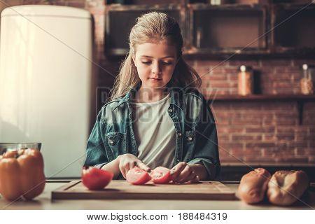 Teenage Girl In Kitchen