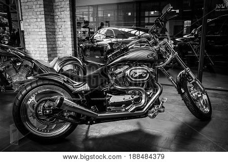 BERLIN GERMANY - MAY 17 2014: Motocycle Harley-Davidson Custom Bike closeup. Black and white. 27th Oldtimer Day Berlin - Brandenburg