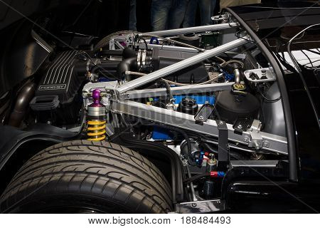 BERLIN GERMANY - MAY 17 2014: Engine compartment of a modern sports car Ford GT. 27th Oldtimer Day Berlin - Brandenburg