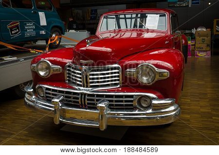 BERLIN GERMANY - MAY 17 2014: Luxury car Lincoln Continental coupe (1948). 27th Oldtimer Day Berlin - Brandenburg