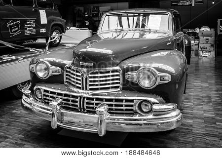 BERLIN GERMANY - MAY 17 2014: Luxury car Lincoln Continental coupe (1948). Black and white. 27th Oldtimer Day Berlin - Brandenburg