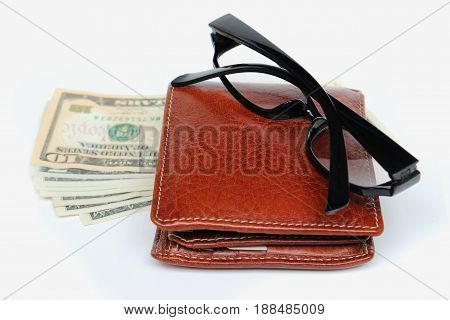 Wallets and glasses on a white background.