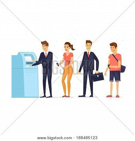 Queue to ATM. Flat design vector illustration.