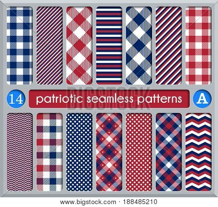 Patriotic set of white blue red seamless patterns. Suitable for elections or 4th of July. Swatches vector endless texture can be used for wallpaper background pattern fills web page surface.