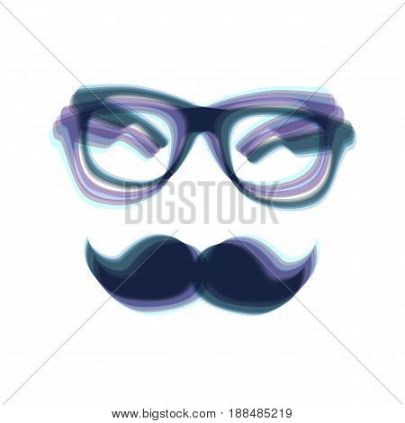 Mustache and Glasses sign. Vector. Colorful icon shaked with vertical axis at white background. Isolated.