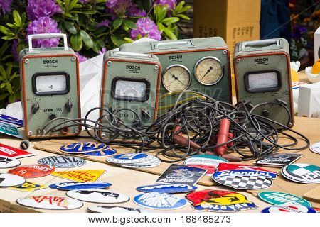 BERLIN GERMANY - MAY 17 2014: Sale of different vintage measuring instrument of the company Bosch. 27th Oldtimer Day Berlin - Brandenburg