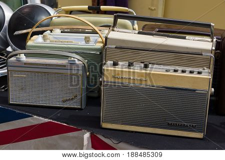 BERLIN GERMANY - MAY 17 2014: Sale of different vintage radios. 27th Oldtimer Day Berlin - Brandenburg