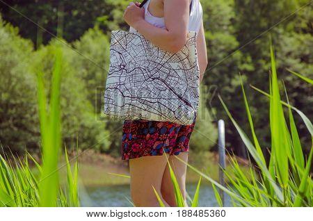 Woman Wears Tote Bag
