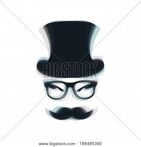 Hipster accessories design. Vector. Colorful icon shaked with vertical axis at white background. Isolated.