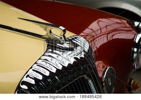 BERLIN GERMANY - MAY 17 2014: Hood ornament of the luxury car Daimler Majestic Major V8 (1965). 27th Oldtimer Day Berlin - Brandenburg