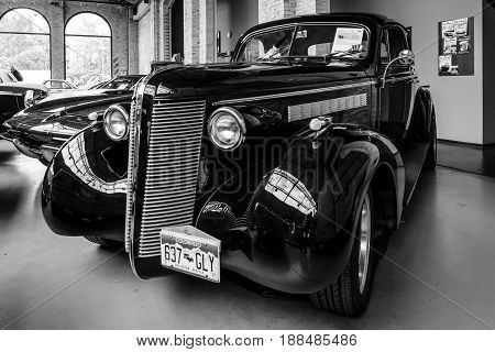 BERLIN GERMANY - MAY 17 2014: Sports car Buick Hot Rod Business Coupe V8 Big Block Andere. Black and white. 27th Oldtimer Day Berlin - Brandenburg