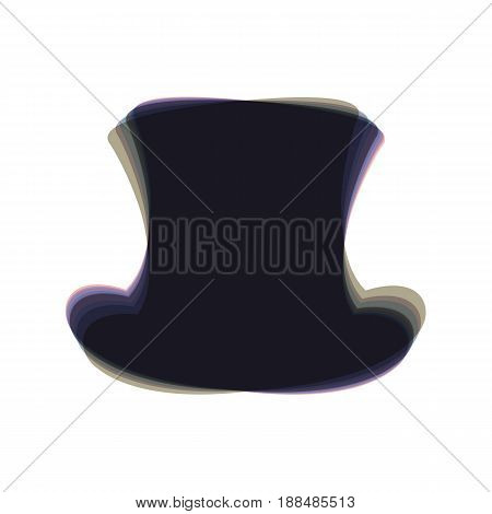 Top hat sign. Vector. Colorful icon shaked with vertical axis at white background. Isolated.