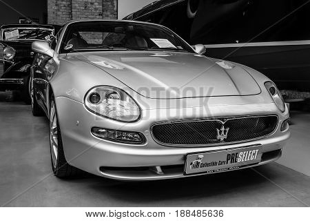 BERLIN GERMANY - MAY 17 2014: The luxury coupe Maserati 3200 GTA (Tipo 338). Black and white. 27th Oldtimer Day Berlin - Brandenburg