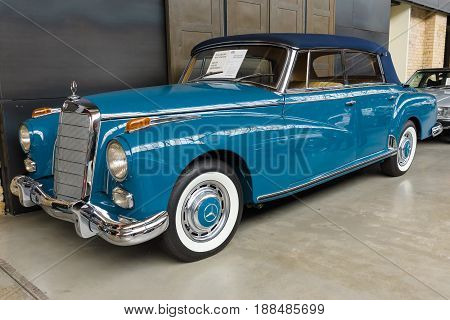 BERLIN GERMANY - MAY 17 2014: Luxury car Mercedes-Benz 300D Cabriolet D (W189). 27th Oldtimer Day Berlin - Brandenburg