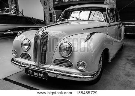 BERLIN GERMANY - MAY 17 2014: Full-size luxury car BMW 501 V8. Black and white. 27th Oldtimer Day Berlin - Brandenburg