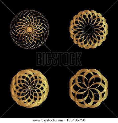 Logo icon abstract symbol. Vector illustration. Gold flower symbol on black background. Modern style. Mandala. Logo simple symbol of the complex structure. Beauty concept. Smooth shape.