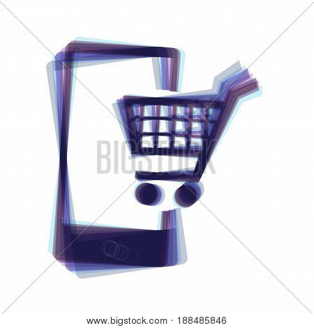 Shopping on smart phone sign. Vector. Colorful icon shaked with vertical axis at white background. Isolated.