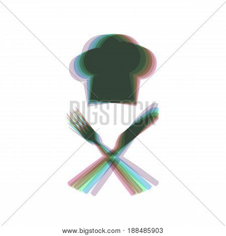 Chef with knife and fork sign. Vector. Colorful icon shaked with vertical axis at white background. Isolated.
