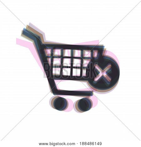 Shopping Cart with delete sign. Vector. Colorful icon shaked with vertical axis at white background. Isolated.