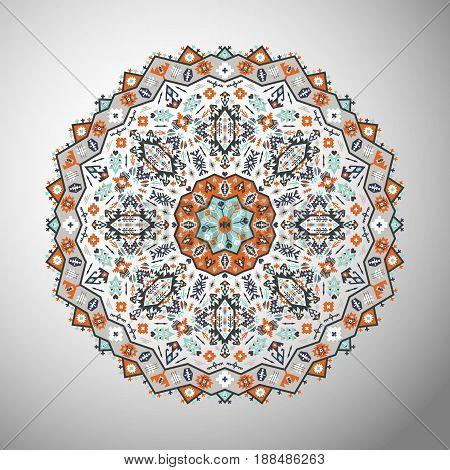 Ornamental bright geometric mandala in aztec style. Oriental pattern, vector illustration