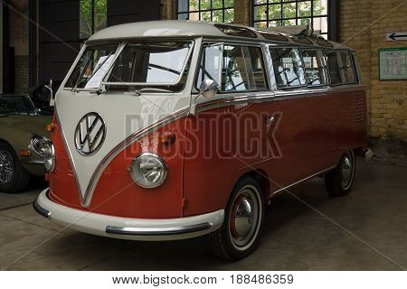 BERLIN GERMANY - MAY 17 2014: Minibus Volkswagen Type 2 (Samba Bus). 27th Oldtimer Day Berlin - Brandenburg