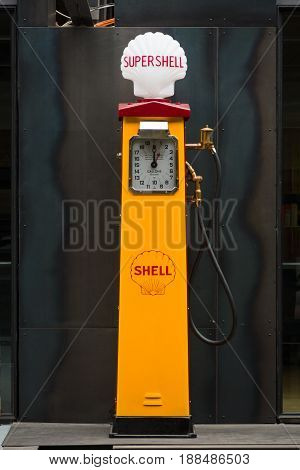 BERLIN GERMANY - MAY 17 2014: Fuel dispenser Beckmeter (1930). 27th Oldtimer Day Berlin - Brandenburg