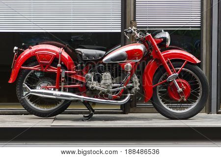 BERLIN GERMANY - MAY 17 2014: Motorcycle Moto Guzzi Airone. 27th Oldtimer Day Berlin - Brandenburg