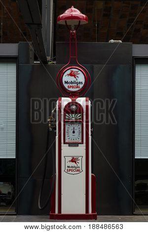 BERLIN GERMANY - MAY 17 2014: Fuel dispenser Wayne Model 60 (1935). 27th Oldtimer Day Berlin - Brandenburg