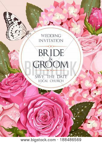 Vintage wedding invitation with varicolored beautiful roses and hydrangea