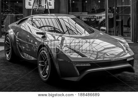 BERLIN GERMANY - MAY 17 2014: Concept car New Stratos by Fenomenon (2005). Black and white. 27th Oldtimer Day Berlin - Brandenburg