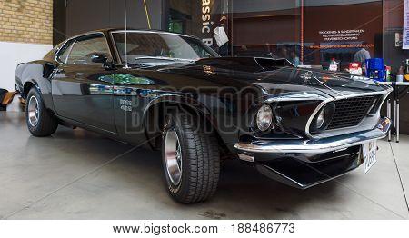BERLIN GERMANY - MAY 17 2014: Muscle car Ford Mustang Boss 429 Fastback (1969). 27th Oldtimer Day Berlin - Brandenburg