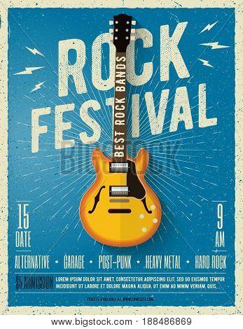 Rock music festival flyer. Poster. Vector illustration.