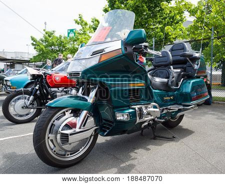 BERLIN GERMANY - MAY 17 2014: Touring motorcycle Honda Gold Wing. 27th Oldtimer Day Berlin - Brandenburg