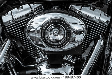 BERLIN GERMANY - MAY 17 2014: Twin Cam 103 engine closeup of motorcycle Harley Davidson Softail. Black and white. 27th Oldtimer Day Berlin - Brandenburg