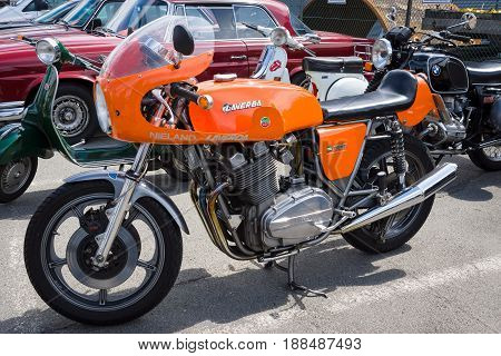 BERLIN GERMANY - MAY 17 2014: Italian sport bike Laverda 1000 1973. 27th Oldtimer Day Berlin - Brandenburg
