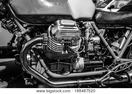 BERLIN GERMANY - MAY 17 2014: Engine of the Italian motorcycle Moto Guzzi V7. Black and white. 27th Oldtimer Day Berlin - Brandenburg
