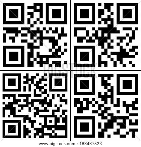 Set of four QR Codes on white background..