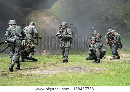 Świnoujście Poland september 15 2012: Historical reconstruction of battle German soldiers World War Second.