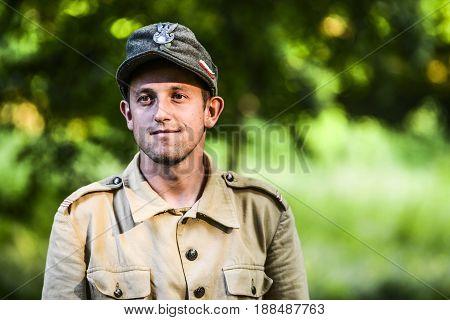 Szczecin Poland June 28 2014: Historical reconstruction World War Second portrait of Polsih Soldier.