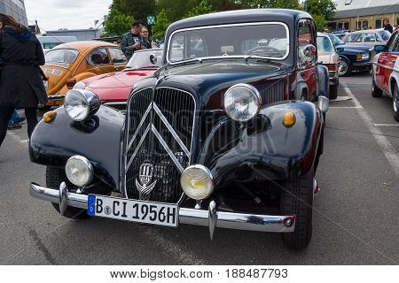 BERLIN GERMANY - MAY 17 2014: Mid-size luxury car Citroen Traction Avant. 27th Oldtimer Day Berlin - Brandenburg