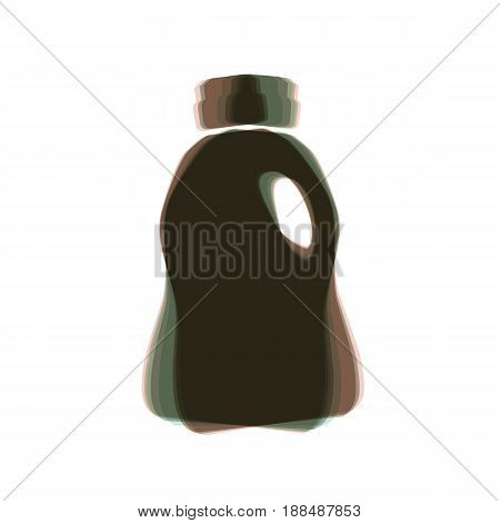Plastic bottle for cleaning. Vector. Colorful icon shaked with vertical axis at white background. Isolated.