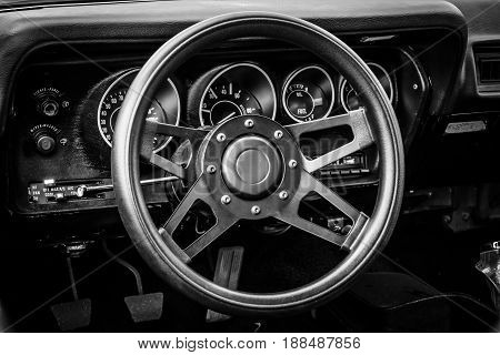 BERLIN GERMANY - MAY 17 2014: Cab of the mid-size car Plymouth Satellite (Third Generation). Black and white. 27th Oldtimer Day Berlin - Brandenburg