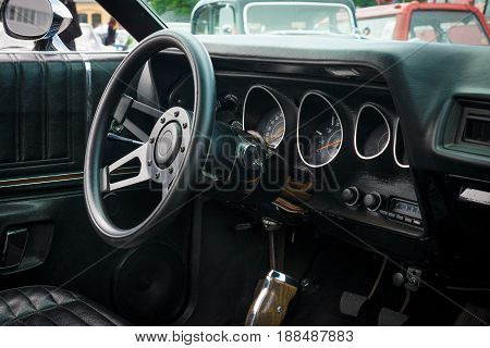 BERLIN GERMANY - MAY 17 2014: Cab of the mid-size car Plymouth Satellite (Third Generation). 27th Oldtimer Day Berlin - Brandenburg