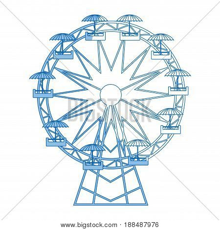 funfair with ferris wheel. amusement and carnival, carousel in park, vector illustration