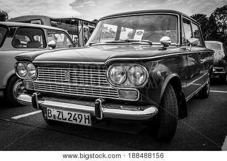 BERLIN GERMANY - MAY 17 2014: Large family car Fiat 1500 1967. Black and white. 27th Oldtimer Day Berlin - Brandenburg
