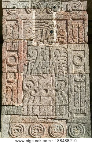 Teotihuacan Mexico - 12 January 2012: Artwork at patio of the Pillars in Teotihuacan Mexico