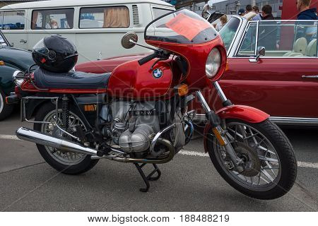 BERLIN GERMANY - MAY 17 2014: Motorcycle BMW R80 / 7. 27th Oldtimer Day Berlin - Brandenburg