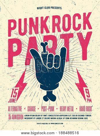 Punk Rock Party Flyer Poster. Vintage styled vector illustration