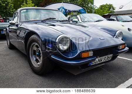 BERLIN GERMANY - MAY 17 2014: A two-seater convertible sports car TVR 3000M. 27th Oldtimer Day Berlin - Brandenburg