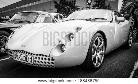 BERLIN GERMANY - MAY 17 2014: Sports car TVR Tuscan Speed 6. Black and white. 27th Oldtimer Day Berlin - Brandenburg
